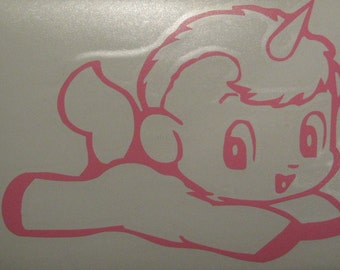 Unico anime unicorn flying rub on vinyl decal sticker