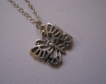 Metal Butterfly Pendant Necklace