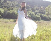 Altered eco chic romantic white lace slip dress upcycled vintage
