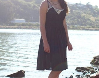 Black womens doily  dress eco garden upcycled featured in Altered Couture