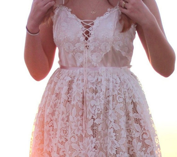 Altered white and pink lace slipdress size medium