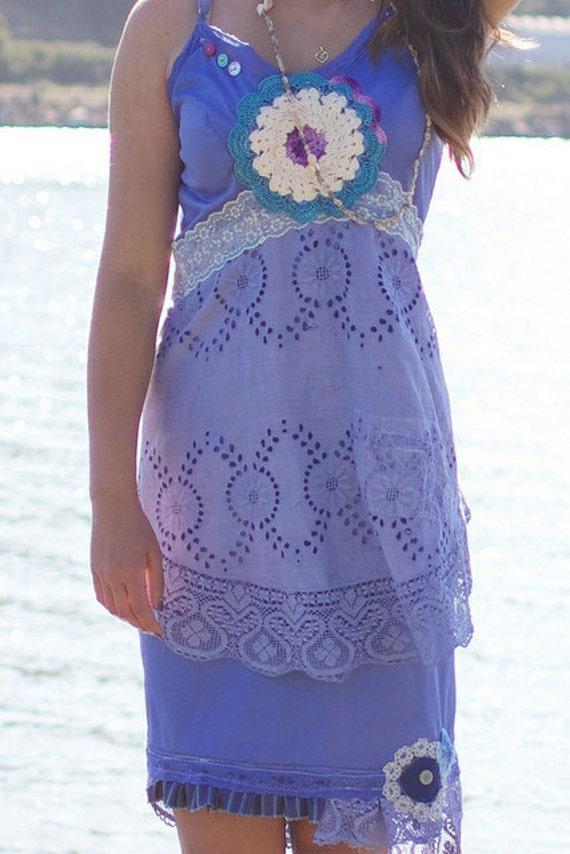 FOR VICTORIA ONLY Blue eco chic upcycled slipdress with linen lace