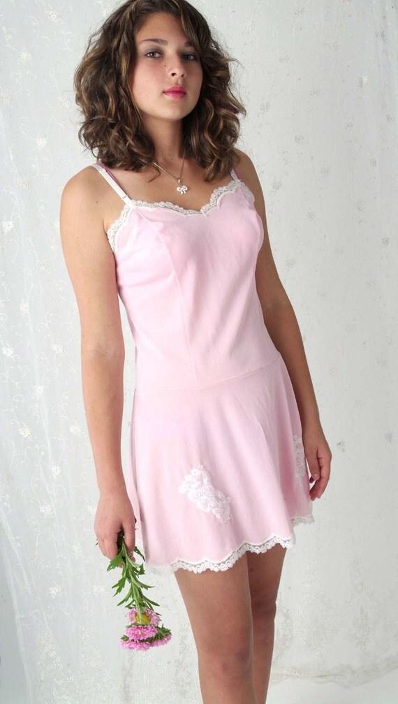 Vintage pink mini slipdress