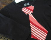 9-12 months boy's shirt and tie-Red stripes