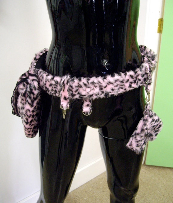 Furtility Belt - Fur Utility Belt - Pink Leopard Print Faux Fur - Perfect Burning Man Satchel and Cell Phone Caddy