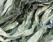shades of parsley, sage, rosemary recycled silk sari ribbon..limited stock