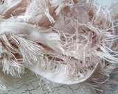 feather reclaimed silk ribbon in cream