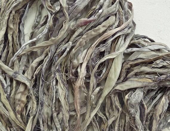 oyster recycled silk sari ribbon