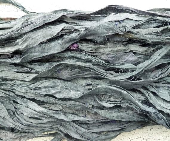 slate blue recycled silk sari ribbon