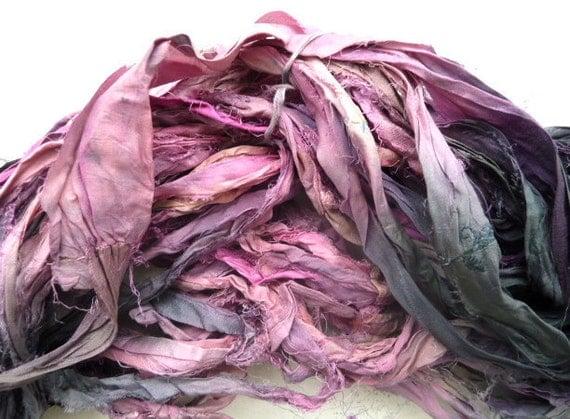 indigo with a bit of flamingo recycled silk sari ribbon