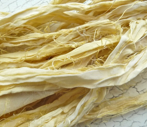 lemon meringue recycled silk sari ribbon