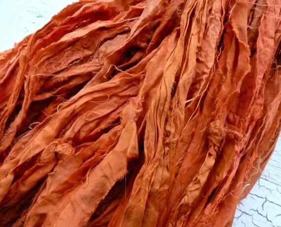 tangerine recycled silk sari ribbon
