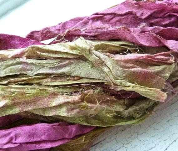 desert flower recycled silk sari ribbon