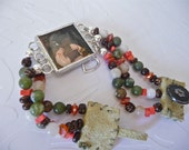 Multi strand leather and bead bracelet with framed photo