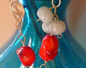 Red coral nuggets, aquamarine beads, gold filled wire wrapped bracelet