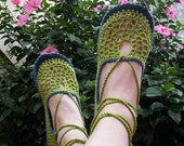 Lace up crochet SHOES - Mary Jane - Apple Green and  Blueberry - CUSTOM MADE - Hippie boho footwear