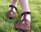 Mary Jane crochet SHOES - Chocolate Brown - CUSTOM MADE -