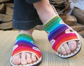 Rainbow Crochet SANDALS w/ natural suede- boho hippie summer shoes - CUSTOM MADE - lepiedleger