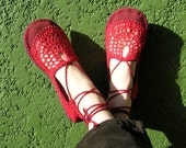 Lace up crochet SHOES - Mary Jane - Red w/ burgundy suede - CUSTOM MADE - Hippie boho footwear