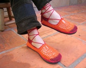 Lace up crochet SHOES - Mary Jane - Tangerine w/ burgundy suede - CUSTOM MADE - Hippie boho footwear
