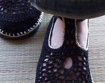 Mary Jane crochet SHOES - Black and Beige - CUSTOM MADE - Hippie chic footwear