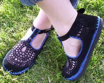 Mary Jane crochet SHOES - Black and Blueberry Blue - CUSTOM MADE -