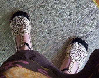 Mary Jane crochet SHOES - Tan & Beige - CUSTOM MADE