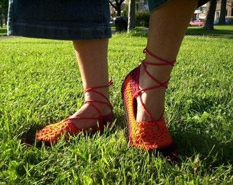 Lace up crochet SHOES - Mary Jane - Tangerine - CUSTOM MADE - Boho sandals