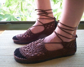 Lace up crochet SHOES - Mary Jane - Chocolate Brown - CUSTOM made - Hippie boho footwear