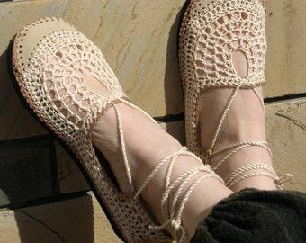 VEGAN Lace up crochet SHOES - Mary Jane - Tan & Beige - CUSTOM made - Hippie boho footwear