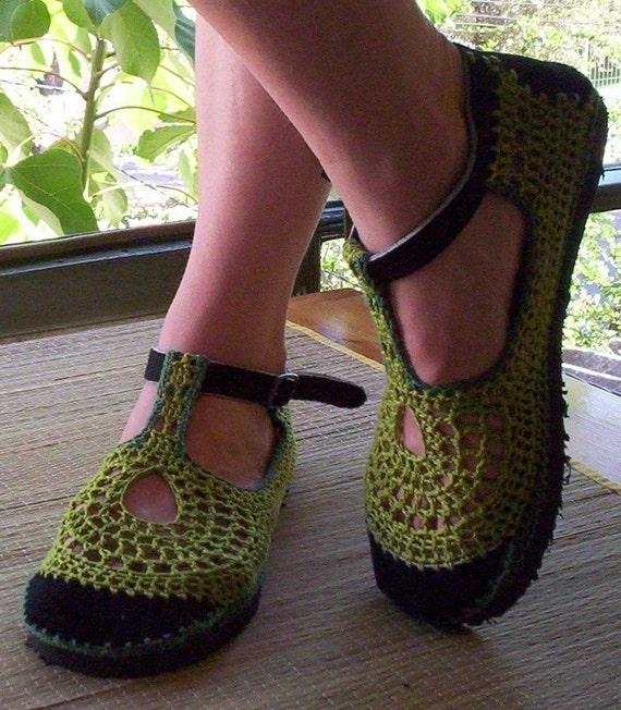 Mary Jane crochet SHOES - Apple Green - CUSTOM MADE -