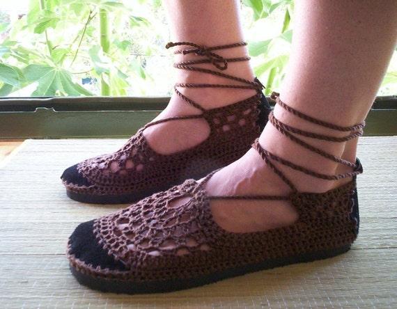 Lace up crochet SHOES - Mary Jane - Chocolate Brown - CUSTOM made - Hippie boho footwear