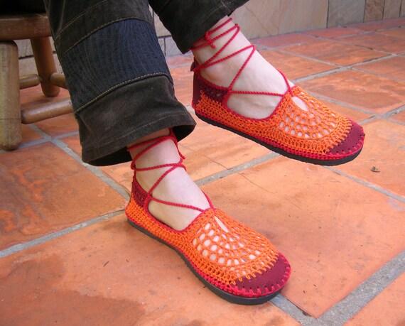 Lace up crochet SHOES - Mary Jane - Tangerine w/ burgundy suede - CUSTOM MADE - Hippie boho footwear
