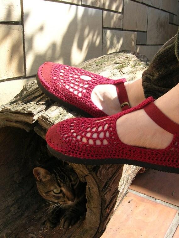 Mary Jane crochet SHOES - Burgundy  - CUSTOM MADE