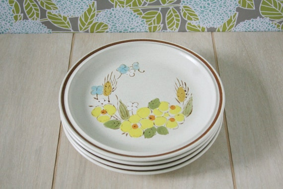 Vintage Stoneware Plates Yellow Flowers