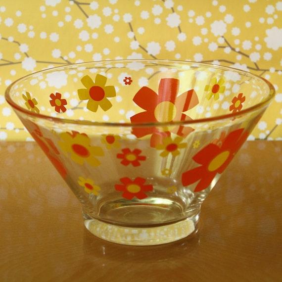 Vintage Salad Bowl Chip Flowers Yellow Orange