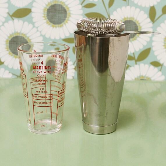 Vintage Cocktail Set, Shaker, Strainer, Measuring