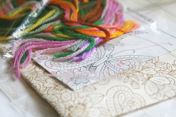 Vintage Needlepoint Kit, Crewel, Supplies, Butterflies