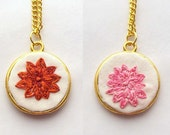 Dahlia Necklace - Hand Embroidered -Double Sided