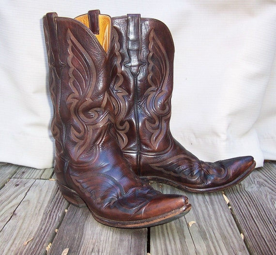 Stallion Cowboy Boots Mens 9.5 Equestrian Pointed Toe Brown Leather Rockabilly Vintage Western Womens 10.5 Pointy Toe Cuban Heel