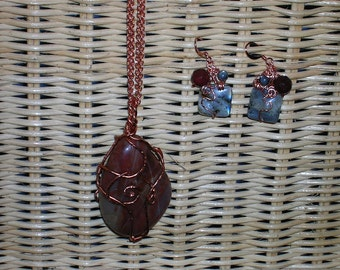 Jasper Jive, Copper Wirewrapped Pendant/Necklace and Earring Set