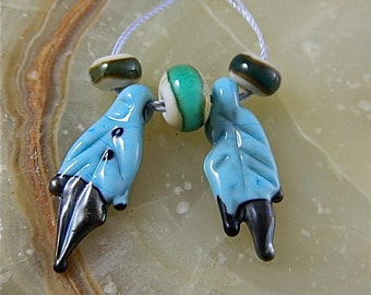 Lampwork Eagle Feather Bead Set: Turquoise Duo Feathers