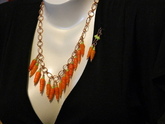 14 Carrot Necklace/Earring Set, Lampwork Bead and Copper Chain