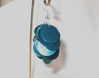 Teal Large Sequin Earrings BeadsTeam