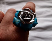 Turquoise & Silver Flower Ring