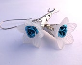 White Lucite Trumpet Flower Earrings with Aluminum Blue Accent and Silver Plated Filigree Findings