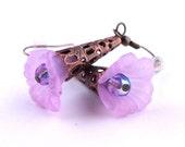 Purple Flower Earrings - Purple Lucite Ruffle Flower Earrings with Antique Bronze Findings