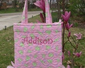Kiddie Take-along Tote - Pink with Green Frogs - Free Personalization