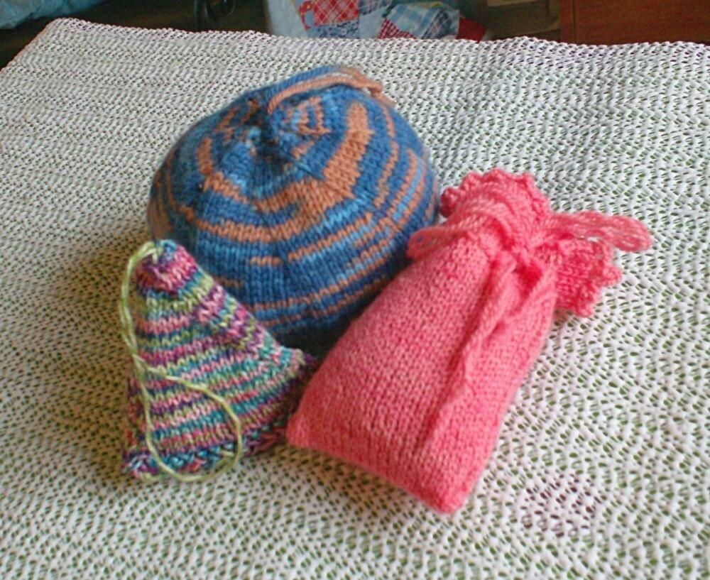 Knitted Sachet Pattern : Three Sachets PDF Digital Knitting Pattern
