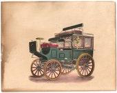 Earliest Steam-Powered Automobile vintage color plate